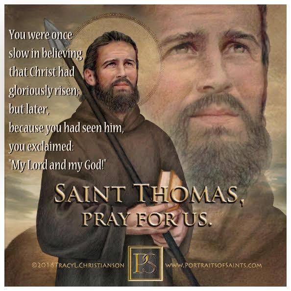 Happy Feast Day  Saint Thomas the Apostle  1st century   Feast Day: July 3  Patr...