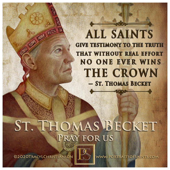 Happy Feast Day  Saint Thomas Becket  1118 - 1170  Feast day: December 29  Patro...