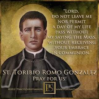 """May be an image of 1 person and text that says '""""LORD, DO NOT LEAVE ΜΕ NOR PERMIT A DAY OF MY LIFE PASS WITHOUT MY SAYING THE MASS, WITHOUT RECEIVING YOUR EMBRACE IN COMMUNION."""" ST. TORIBIO ROMO GONZALEZ PRAY FOR US! ©2021TRACYLCHRISTIANSON www.PORTRAITSOFSAINTS.COM'"""