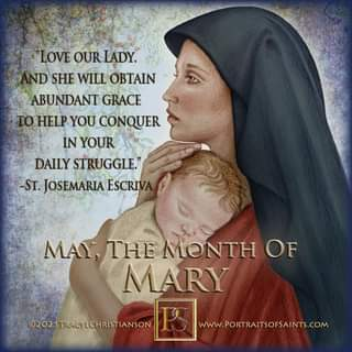 """May be an image of 1 person and text that says 'LOVE OUR LADY. ND SHE WILL OBTAIN ABUNDANT GRACE TO HELP YOU CONQUER IN YOUR DAILY STRUGGLE."""" -ST. JOSEMARIA ESCRIVA MAY, THE MONTH OF MARY 02021TRACYLCHRISTIANSON www.PORTRAITSOFSAINTS.COM'"""
